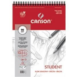 Blok szkicowy Canson A3 90gr 50k spirala