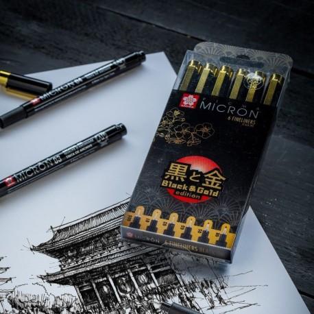 Cienkopis Micron kpl. 6 szt Black& Gold Edition